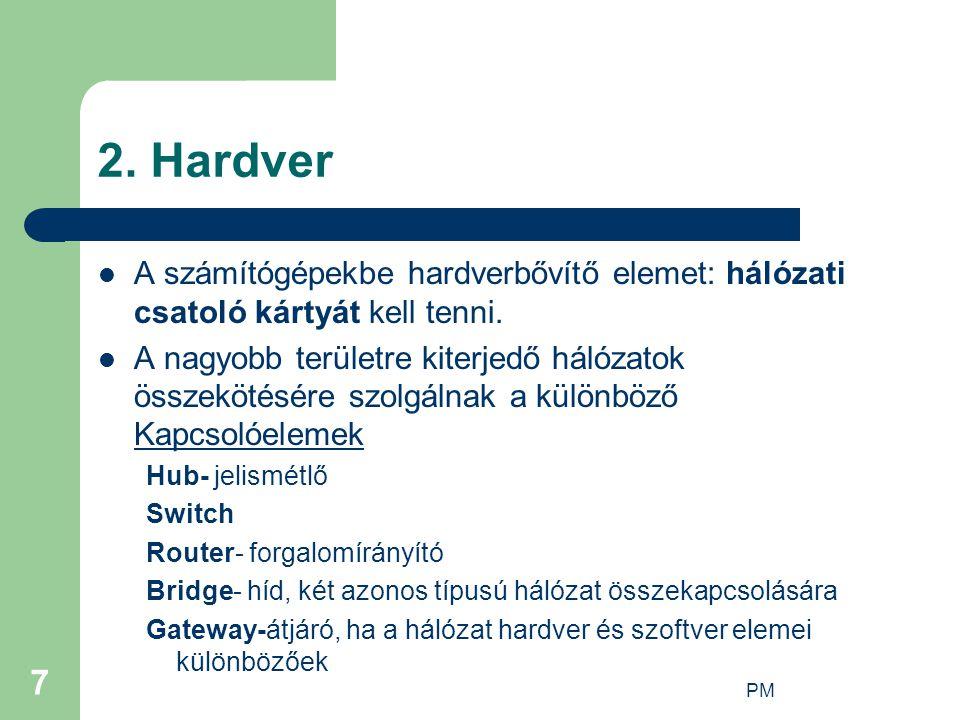 PM 7 2. Hardver A számítógépekbe hardverbővítő elemet: hálózati csatoló kártyát kell tenni. A nagyobb területre kiterjedő hálózatok összekötésére szol