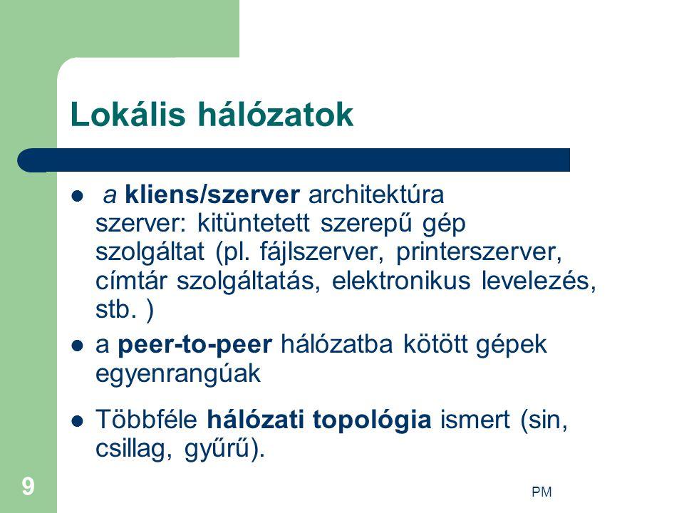 PM 9 Lokális hálózatok a kliens/szerver architektúra szerver: kitüntetett szerepű gép szolgáltat (pl.