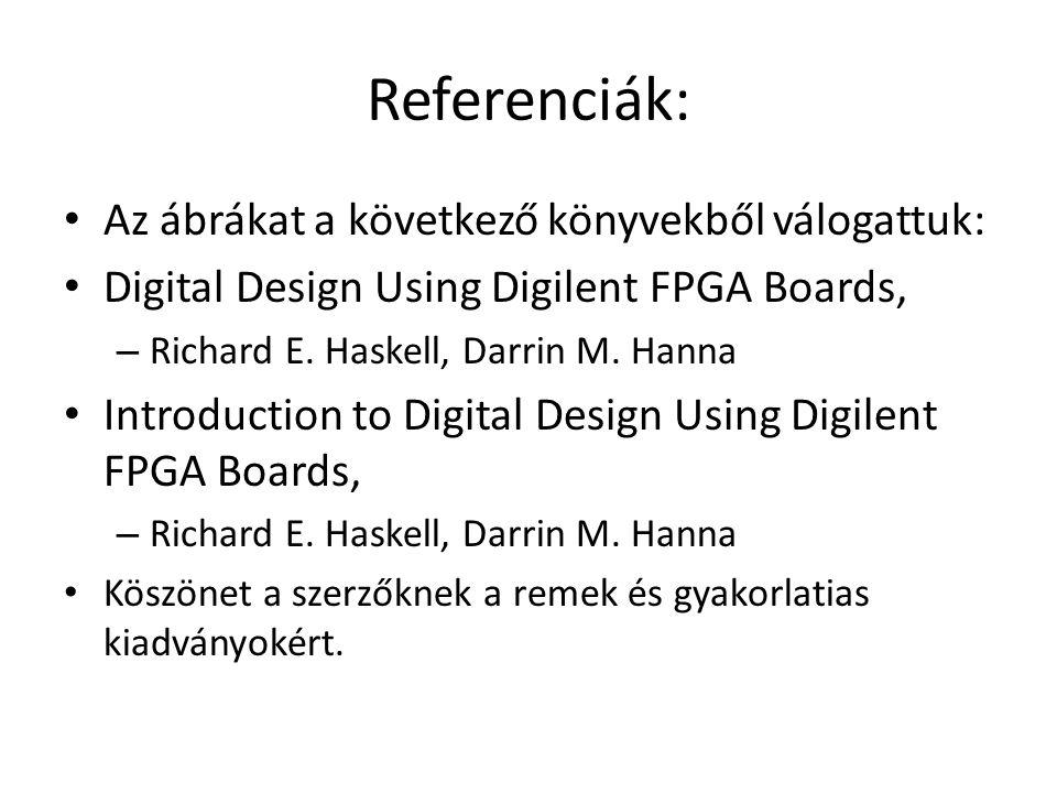 Referenciák: Az ábrákat a következő könyvekből válogattuk: Digital Design Using Digilent FPGA Boards, – Richard E.