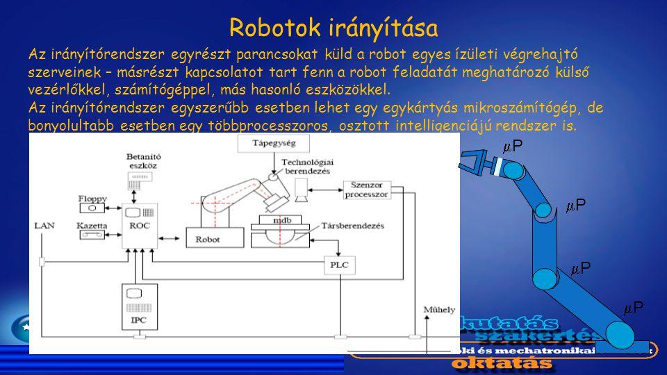 Az irányítórendszer egyrészt parancsokat küld a robot egyes ízületi végrehajtó szerveinek – másrészt kapcsolatot tart fenn a robot feladatát meghatáro