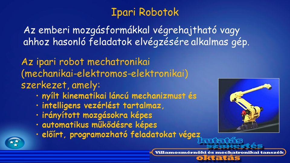 Az ipari robot mechatronikai (mechanikai-elektromos-elektronikai) szerkezet, amely: nyílt kinematikai láncú mechanizmust és intelligens vezérlést tart
