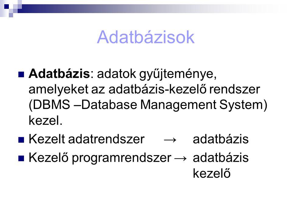Adatbázisok Adatbázis: adatok gyűjteménye, amelyeket az adatbázis-kezelő rendszer (DBMS –Database Management System) kezel. Kezelt adatrendszer →adatb