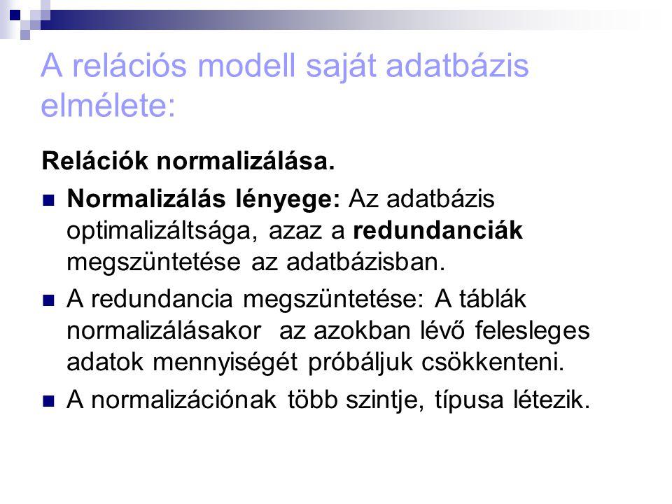 A relációs modell saját adatbázis elmélete: Relációk normalizálása. Normalizálás lényege: Az adatbázis optimalizáltsága, azaz a redundanciák megszünte