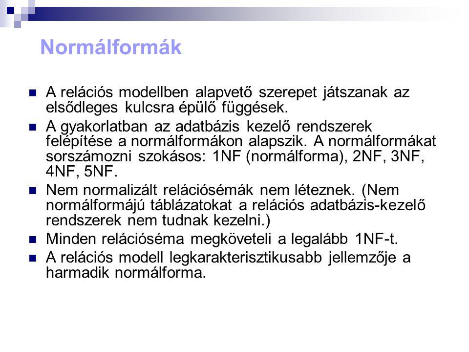 Normálformák A relációs modellben alapvető szerepet játszanak az elsődleges kulcsra épülő függések. A gyakorlatban az adatbázis kezelő rendszerek felé