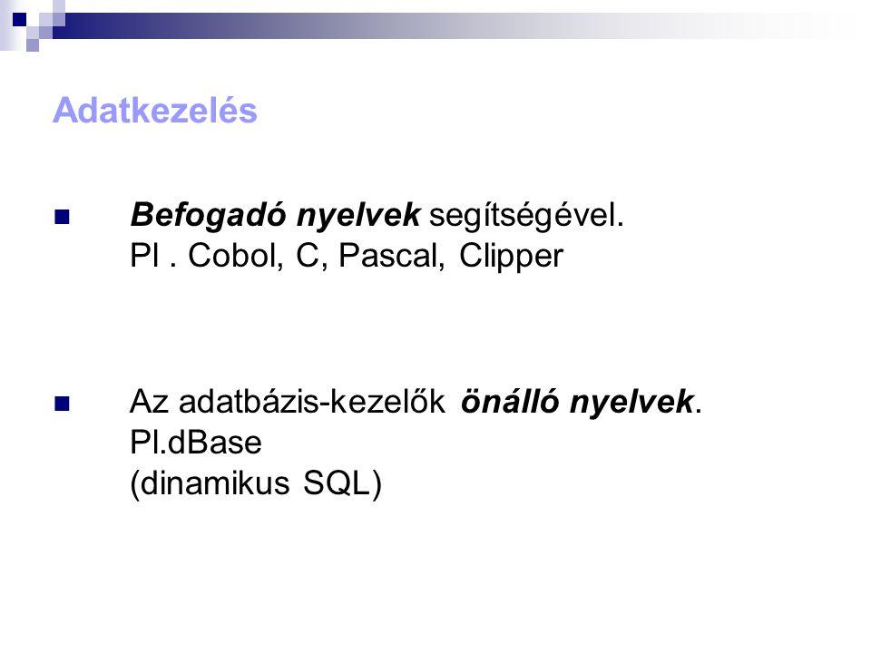 Adatkezelés Befogadó nyelvek segítségével. Pl. Cobol, C, Pascal, Clipper Az adatbázis-kezelők önálló nyelvek. Pl.dBase (dinamikus SQL)