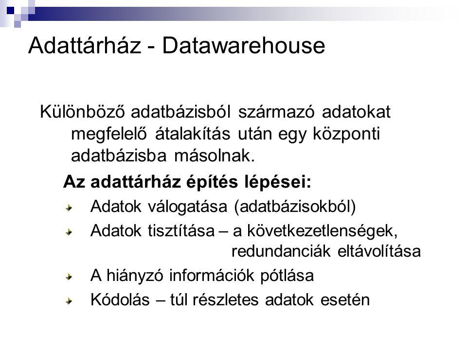 Adattárház - Datawarehouse Különböző adatbázisból származó adatokat megfelelő átalakítás után egy központi adatbázisba másolnak. Az adattárház építés