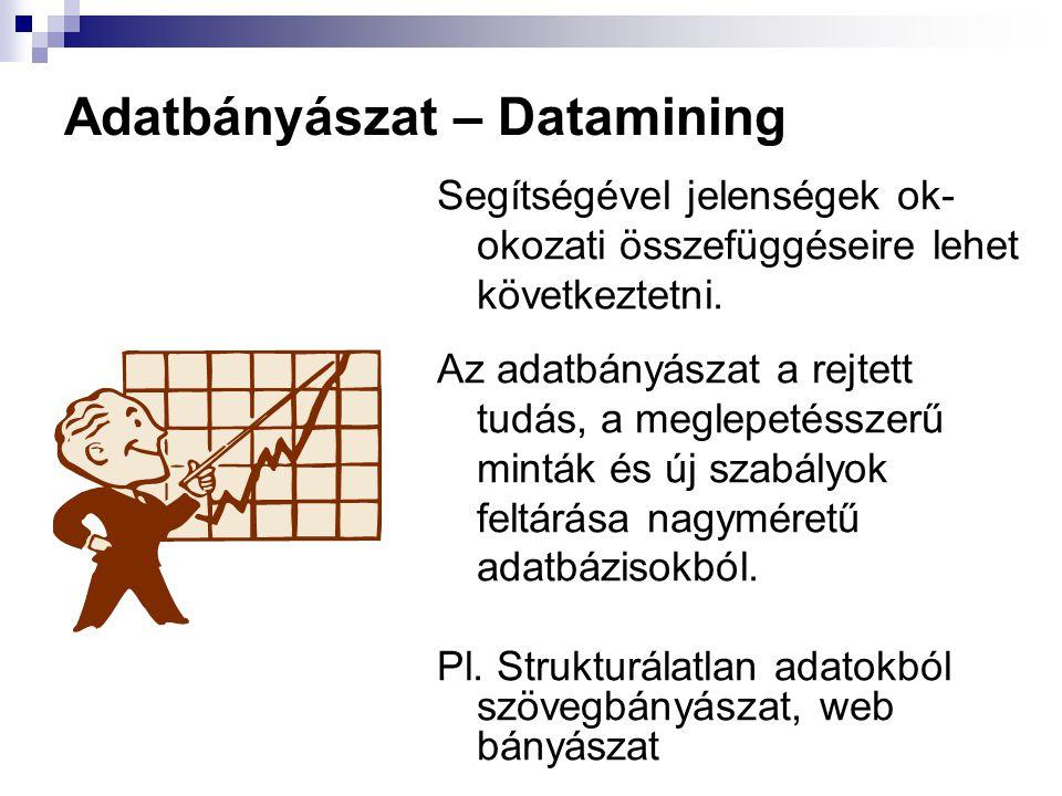 Adatbányászat – Datamining Segítségével jelenségek ok- okozati összefüggéseire lehet következtetni. Az adatbányászat a rejtett tudás, a meglepetésszer