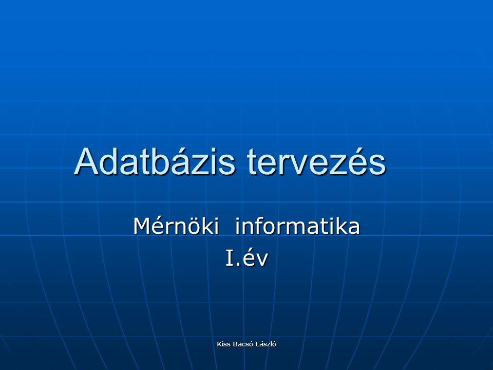 Kiss Bacsó László Adatbázis tervezés Mérnöki informatika I.év