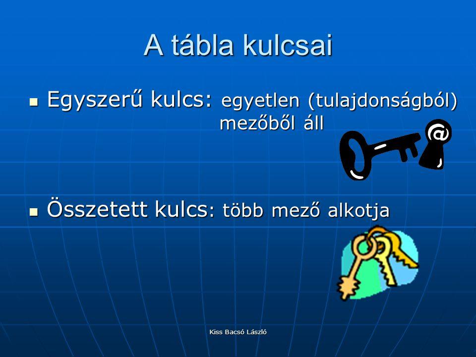 Kiss Bacsó László A tábla kulcsai Egyszerű kulcs: egyetlen (tulajdonságból) mezőből áll Egyszerű kulcs: egyetlen (tulajdonságból) mezőből áll Összetet