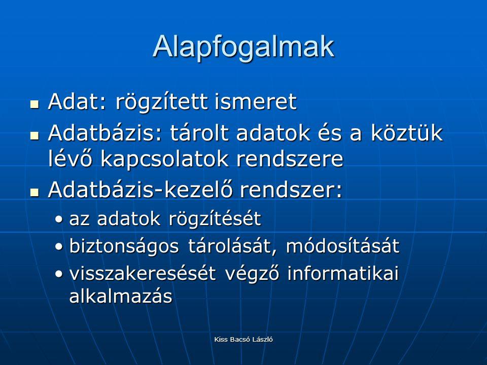 Kiss Bacsó László Alapfogalmak Adat: rögzített ismeret Adat: rögzített ismeret Adatbázis: tárolt adatok és a köztük lévő kapcsolatok rendszere Adatbáz