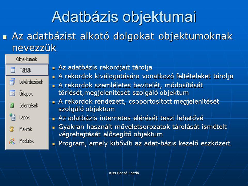 Kiss Bacsó László Adatbázis objektumai Az adatbázist alkotó dolgokat objektumoknak nevezzük Az adatbázist alkotó dolgokat objektumoknak nevezzük Az ad