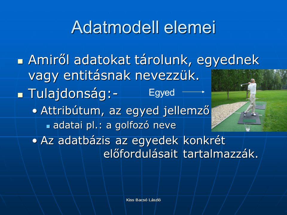 Kiss Bacsó László Adatbázis létrehozása Tervező nézetben hozzuk létre a táblát Tervező nézetben hozzuk létre a táblátKulcsMezőkijelölőnézet