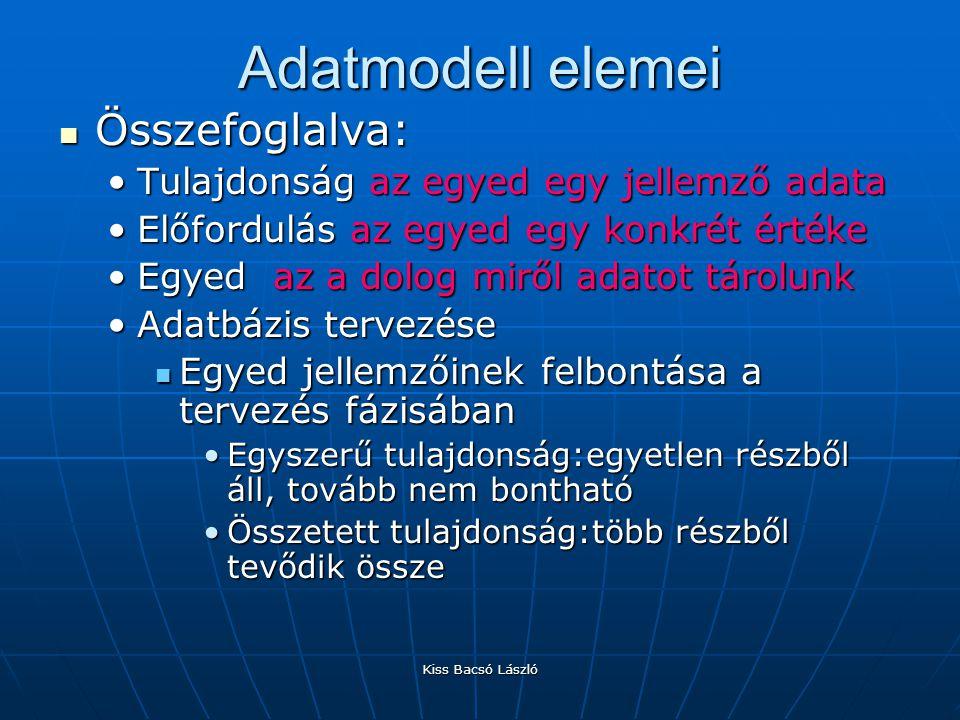 Kiss Bacsó László Az adatlap nézet A tervező nézetben létrehozott mezők és a hozzátartozó tulajdonságok az adatlapon.
