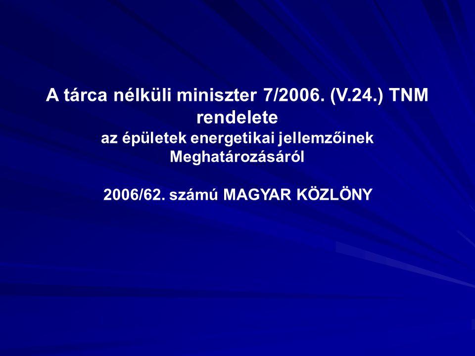 A tárca nélküli miniszter 7/2006. (V.24.) TNM rendelete az épületek energetikai jellemzőinek Meghatározásáról 2006/62. számú MAGYAR KÖZLÖNY