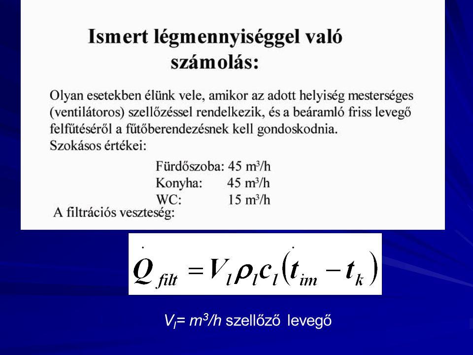 V l = m 3 /h szellőző levegő