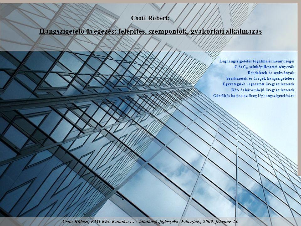 Csott Róbert: Hangszigetelő üvegezés: felépítés, szempontok, gyakorlati alkalmazás Léghangszigetelés fogalma és mennyiségei C és C tr színképillesztési tényezők Rendeletek és szabványok Szerkezetek és üvegek hangszigetelése Egyrétegű és ragasztott üvegszerkezetek Két- és háromhéjú üvegszerkezetek Gáztöltés hatása az üveg léghangszigetelésére Csott Róbert, ÉMI Kht.