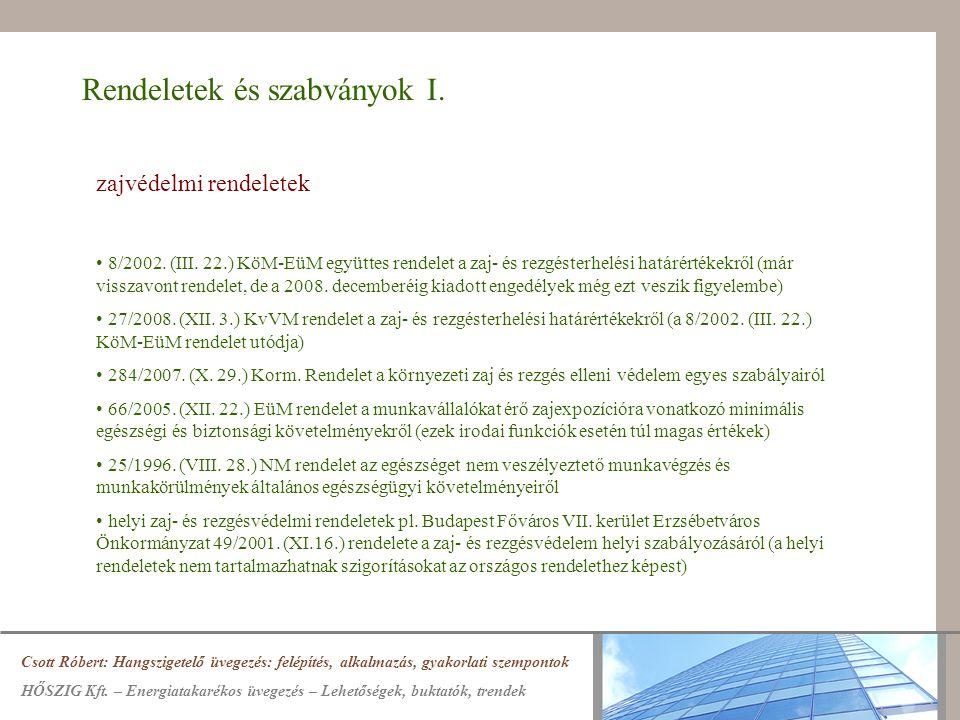 Rendeletek és szabványok I. zajvédelmi rendeletek 8/2002. (III. 22.) KöM-EüM együttes rendelet a zaj- és rezgésterhelési határértékekről (már visszavo