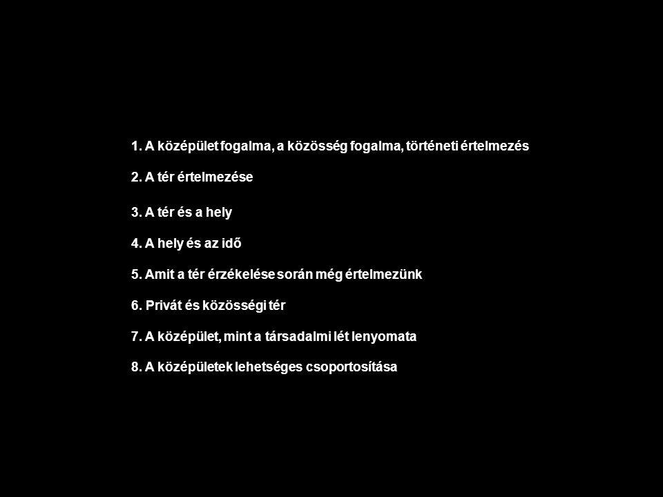 1.- A középület fogalma angol : public building német : öffentliche Gebaude magyar: középület -közösségi épület szóból tagkieséssel képzett szó, de mi a közösség.