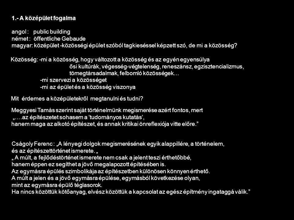 1.- A középület fogalma angol : public building német : öffentliche Gebaude magyar: középület -közösségi épület szóból tagkieséssel képzett szó, de mi