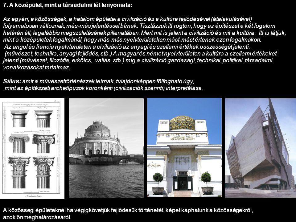 7. A középület, mint a társadalmi lét lenyomata: Az egyén, a közösségek, a hatalom épületei a civilizáció és a kultúra fejlődésével (átalakulásával) f