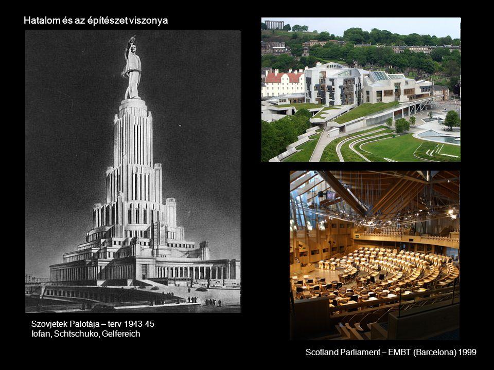 Hatalom és az építészet viszonya Scotland Parliament – EMBT (Barcelona) 1999 Szovjetek Palotája – terv 1943-45 Iofan, Schtschuko, Gelfereich