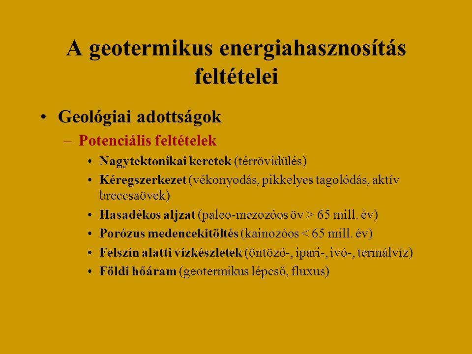 A geotermikus energiahasznosítás feltételei Geológiai adottságok –Potenciális feltételek Nagytektonikai keretek (térrövidülés) Kéregszerkezet (vékonyo