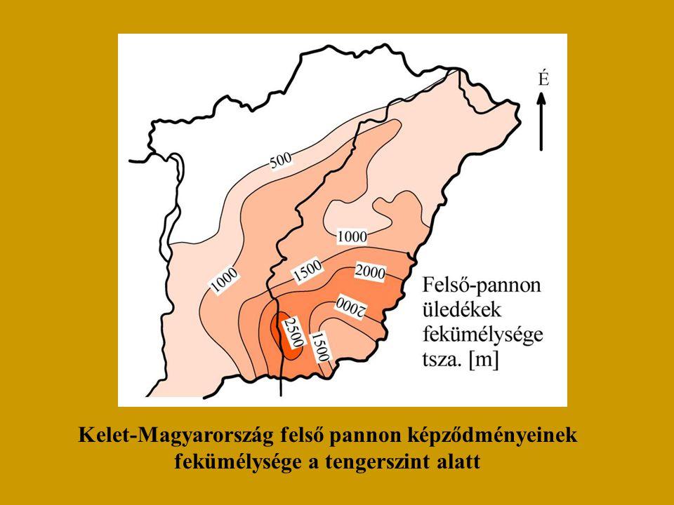 Kelet-Magyarország felső pannon képződményeinek fekümélysége a tengerszint alatt