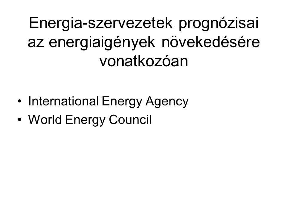 Energia-szervezetek prognózisai az energiaigények növekedésére vonatkozóan International Energy Agency World Energy Council