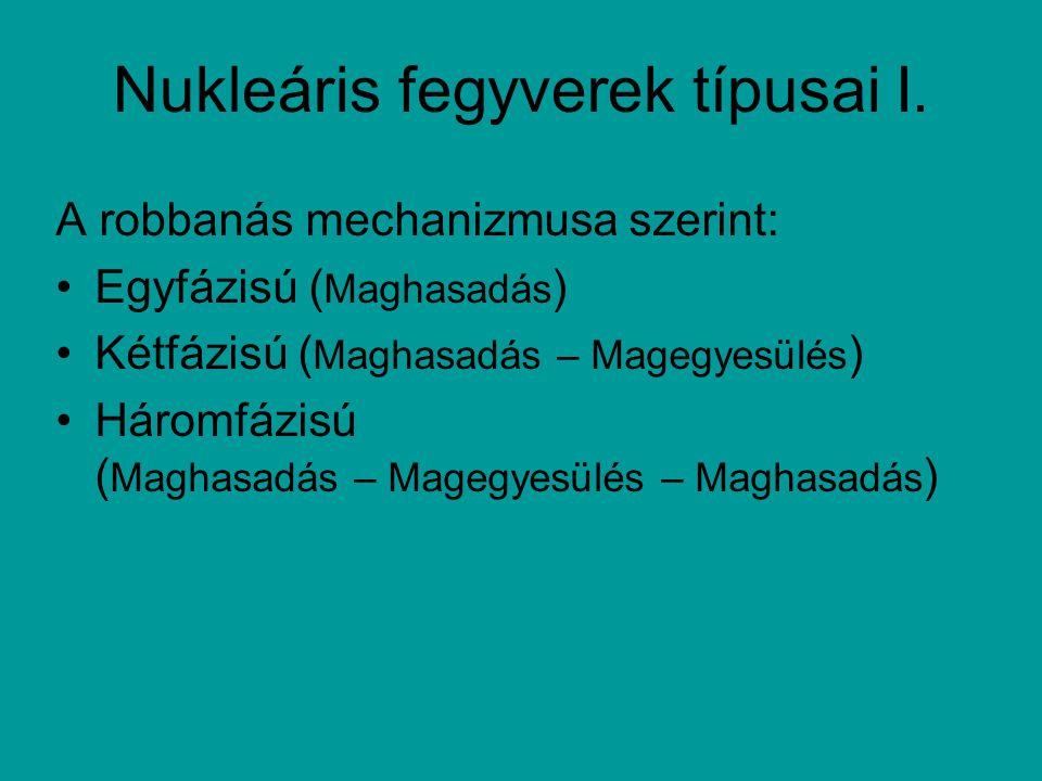 Nukleáris fegyverek típusai I. A robbanás mechanizmusa szerint: Egyfázisú ( Maghasadás ) Kétfázisú ( Maghasadás – Magegyesülés ) Háromfázisú ( Maghasa