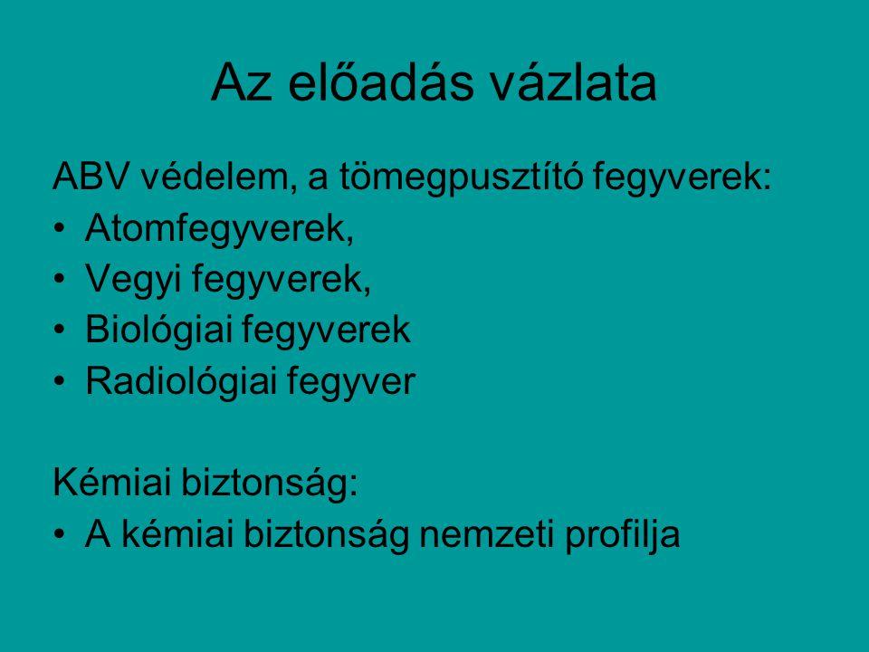 Toxinok: botulinotoxin, diphtéria toxin, neurotoxinok, ricin, saxitoxin, tetrodotoxin, trichotecen