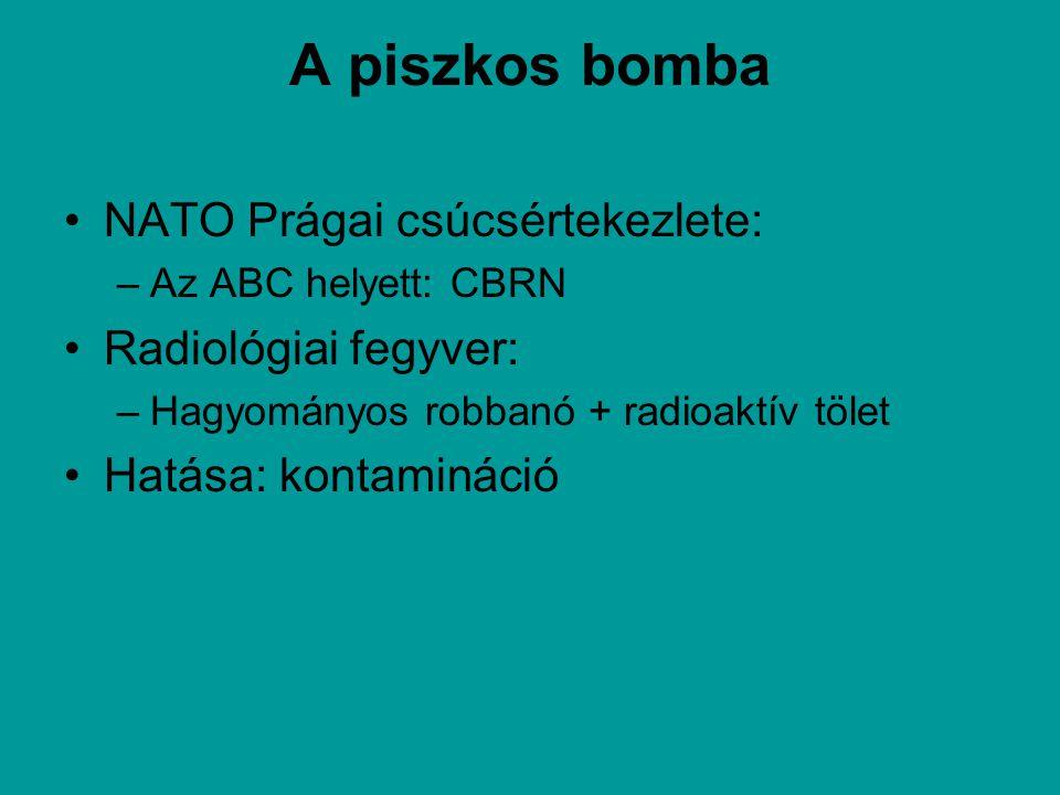 A piszkos bomba NATO Prágai csúcsértekezlete: –Az ABC helyett: CBRN Radiológiai fegyver: –Hagyományos robbanó + radioaktív tölet Hatása: kontamináció
