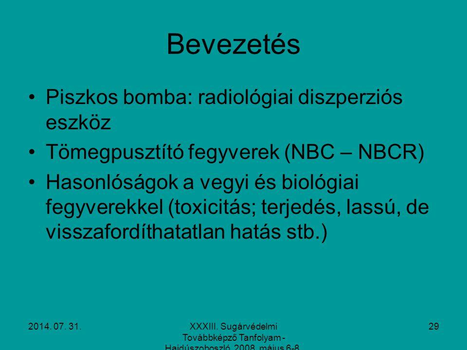 2014. 07. 31.XXXIII. Sugárvédelmi Továbbképző Tanfolyam - Hajdúszoboszló, 2008. május 6-8. 29 Bevezetés Piszkos bomba: radiológiai diszperziós eszköz