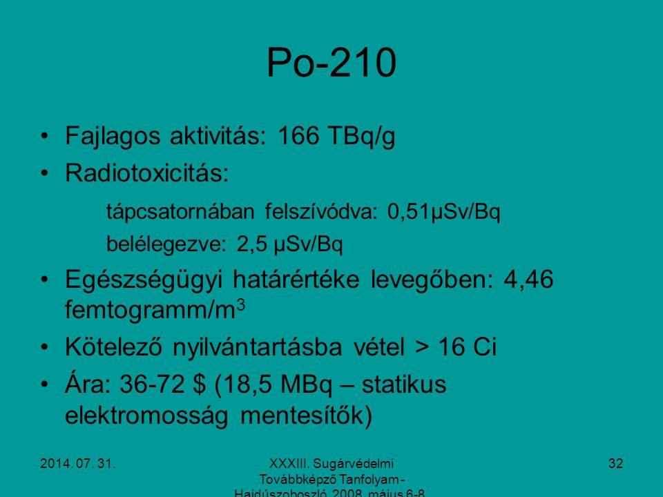 2014. 07. 31.XXXIII. Sugárvédelmi Továbbképző Tanfolyam - Hajdúszoboszló, 2008. május 6-8. 32 Po-210 Fajlagos aktivitás: 166 TBq/g Radiotoxicitás: táp