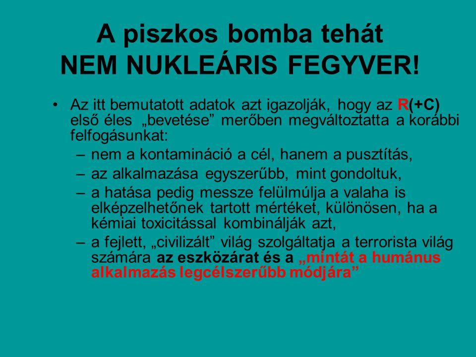 """A piszkos bomba tehát NEM NUKLEÁRIS FEGYVER! Az itt bemutatott adatok azt igazolják, hogy az R(+C) első éles """"bevetése"""" merőben megváltoztatta a koráb"""