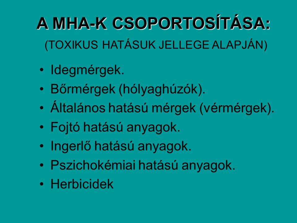 A MHA-K CSOPORTOSÍTÁSA: A MHA-K CSOPORTOSÍTÁSA: (TOXIKUS HATÁSUK JELLEGE ALAPJÁN) Idegmérgek. Bőrmérgek (hólyaghúzók). Általános hatású mérgek (vérmér