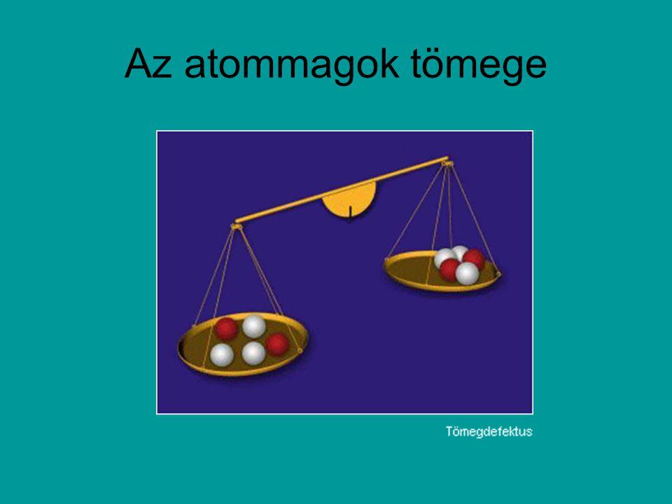 MAGHASADÁS (Otto Hahn és Fritz Strassmann 1939): A maghasadáskor felszabaduló energia mintegy 200 MeV A természetes uránnak csak 0.71%-a 235-ös izotóp, a többi 238-as Az atomerőműnek 2-4%-os kell, a fegyvergyártáshoz meg 90%.