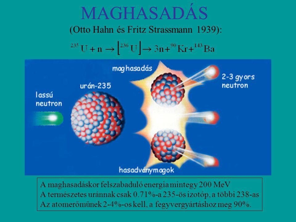 MAGHASADÁS (Otto Hahn és Fritz Strassmann 1939): A maghasadáskor felszabaduló energia mintegy 200 MeV A természetes uránnak csak 0.71%-a 235-ös izotóp