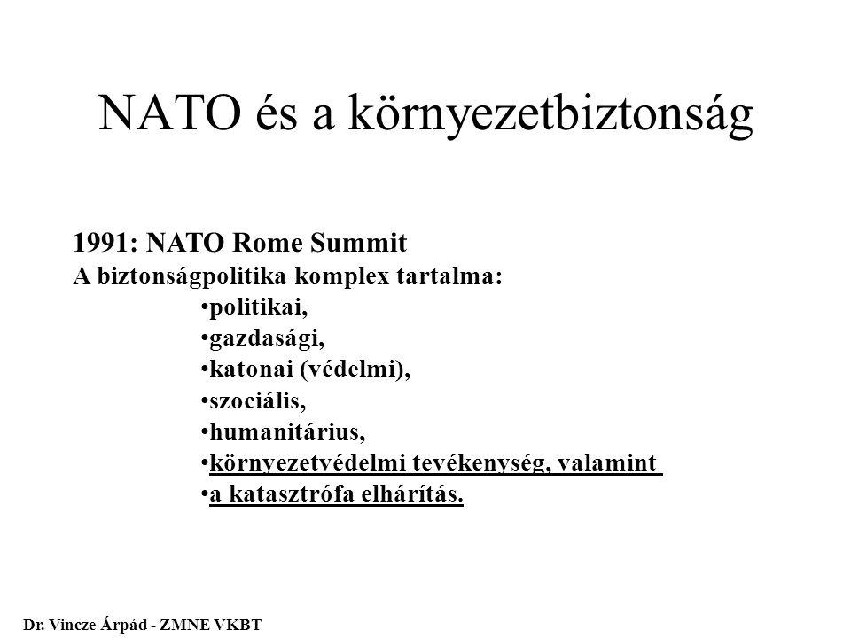 NATO és a környezetbiztonság 1991: NATO Rome Summit A biztonságpolitika komplex tartalma: politikai, gazdasági, katonai (védelmi), szociális, humanitá