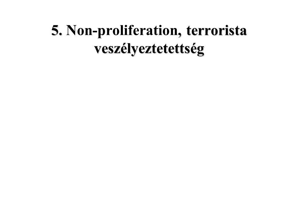5., terrorista veszélyeztetettség 5. Non-proliferation, terrorista veszélyeztetettség