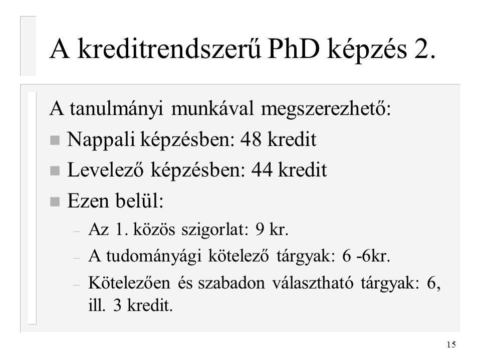 15 A kreditrendszerű PhD képzés 2. A tanulmányi munkával megszerezhető: n Nappali képzésben: 48 kredit n Levelező képzésben: 44 kredit n Ezen belül: –