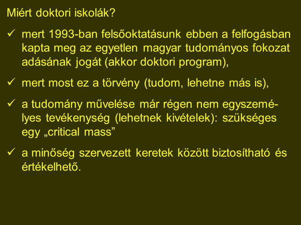 """A PhD minősége az egyetemek nagy felelőssége a magyar (és általában) a tudomány iránt Mivel a tudomány nemzetközi (még ha olykor """"nemzeti is), a minőség mércéje a nemzetközileg (el)ismert színvonal."""