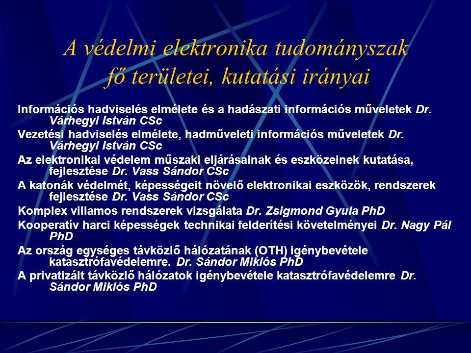 A védelmi elektronika tudományszak fő területei, kutatási irányai Információs hadviselés elmélete és a hadászati információs műveletek Dr. Várhegyi Is