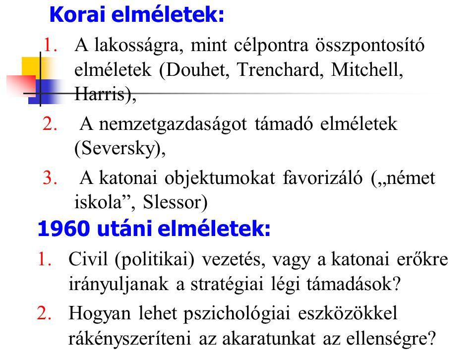 Korai elméletek: 1.A lakosságra, mint célpontra összpontosító elméletek (Douhet, Trenchard, Mitchell, Harris), 2. A nemzetgazdaságot támadó elméletek