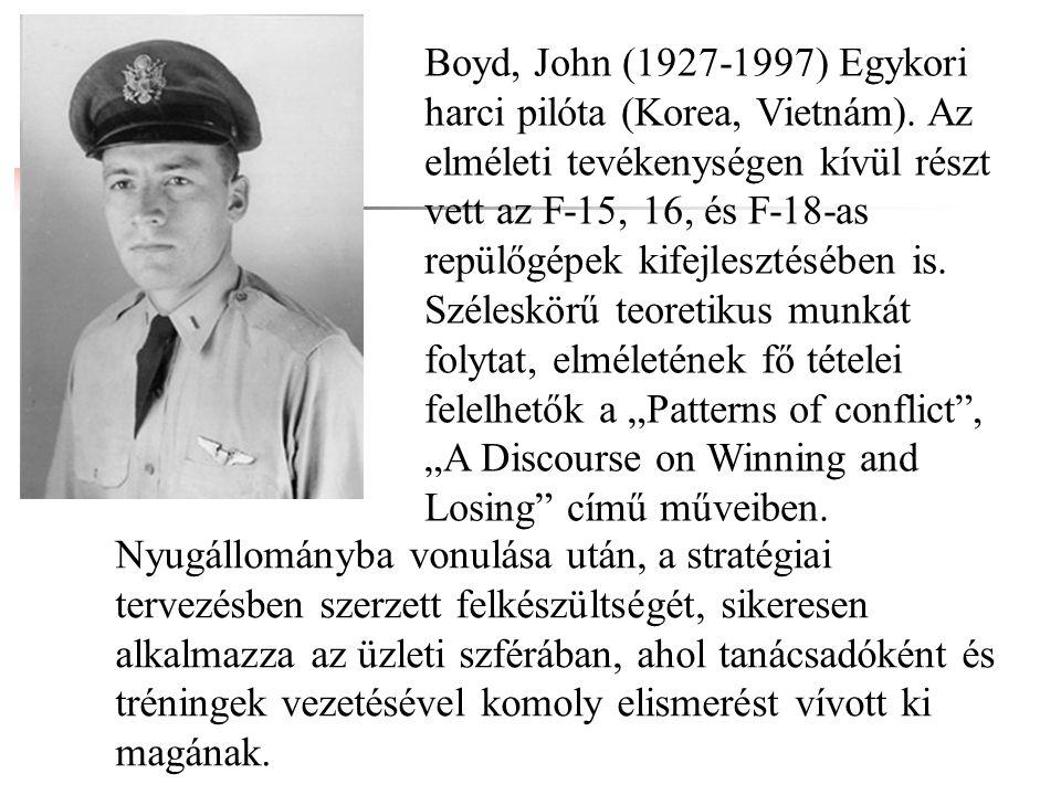 Boyd, John (1927-1997) Egykori harci pilóta (Korea, Vietnám). Az elméleti tevékenységen kívül részt vett az F-15, 16, és F-18-as repülőgépek kifejlesz