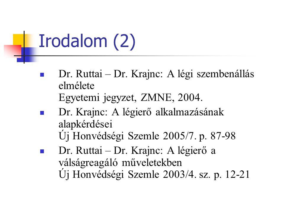Irodalom (2) Dr. Ruttai – Dr. Krajnc: A légi szembenállás elmélete Egyetemi jegyzet, ZMNE, 2004. Dr. Krajnc: A légierő alkalmazásának alapkérdései Új