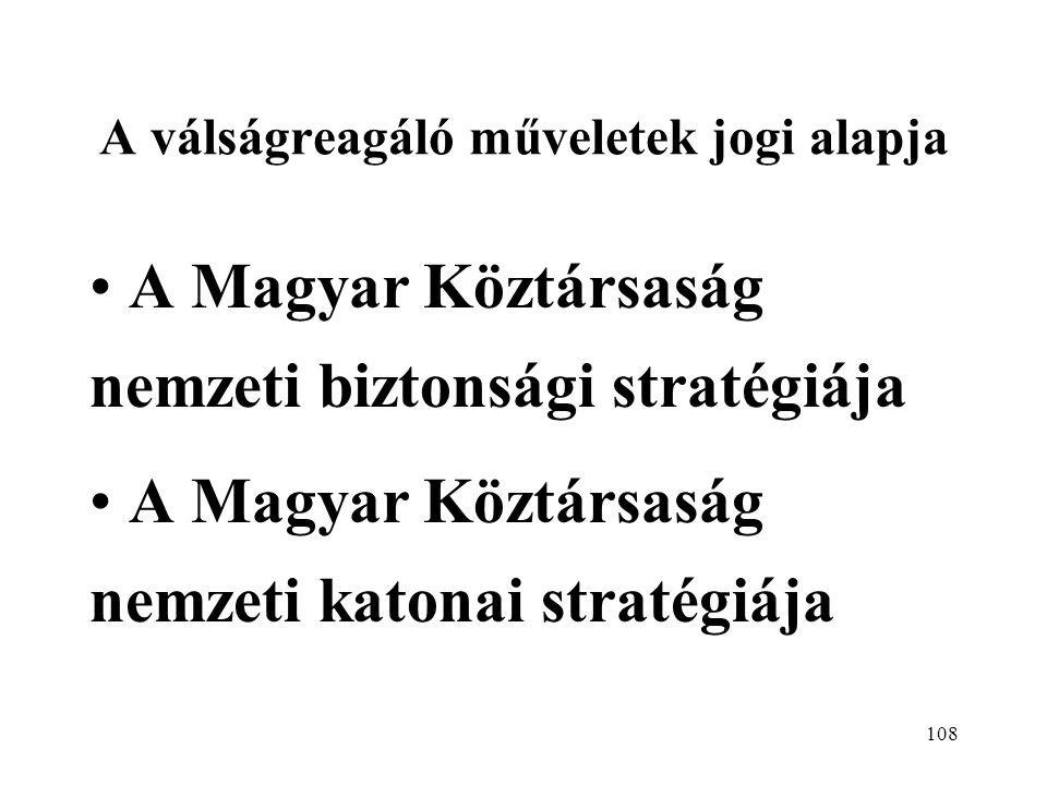 108 A válságreagáló műveletek jogi alapja A Magyar Köztársaság nemzeti biztonsági stratégiája A Magyar Köztársaság nemzeti katonai stratégiája