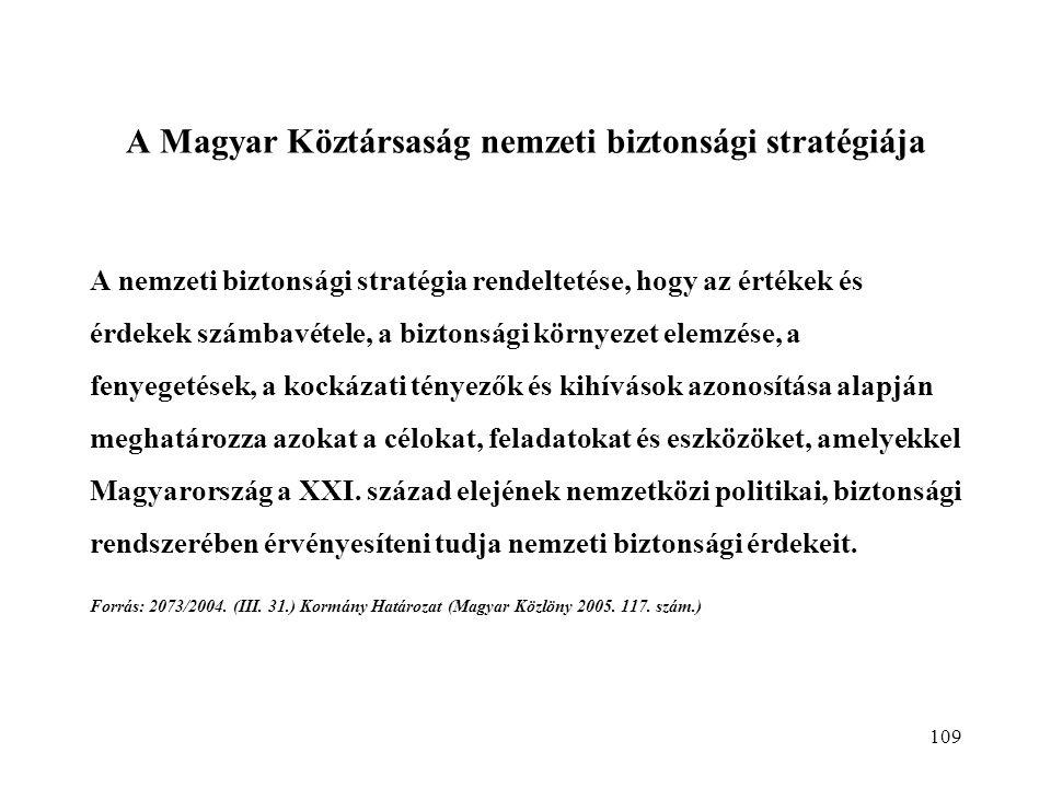 109 A Magyar Köztársaság nemzeti biztonsági stratégiája A nemzeti biztonsági stratégia rendeltetése, hogy az értékek és érdekek számbavétele, a biztonsági környezet elemzése, a fenyegetések, a kockázati tényezők és kihívások azonosítása alapján meghatározza azokat a célokat, feladatokat és eszközöket, amelyekkel Magyarország a XXI.