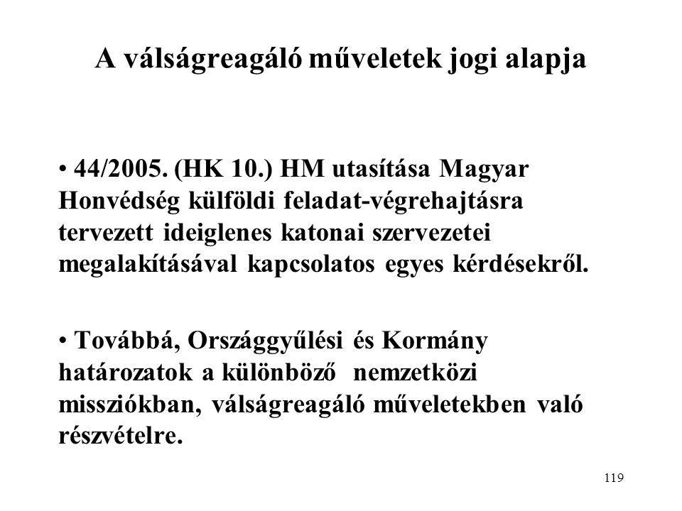 119 A válságreagáló műveletek jogi alapja 44/2005.