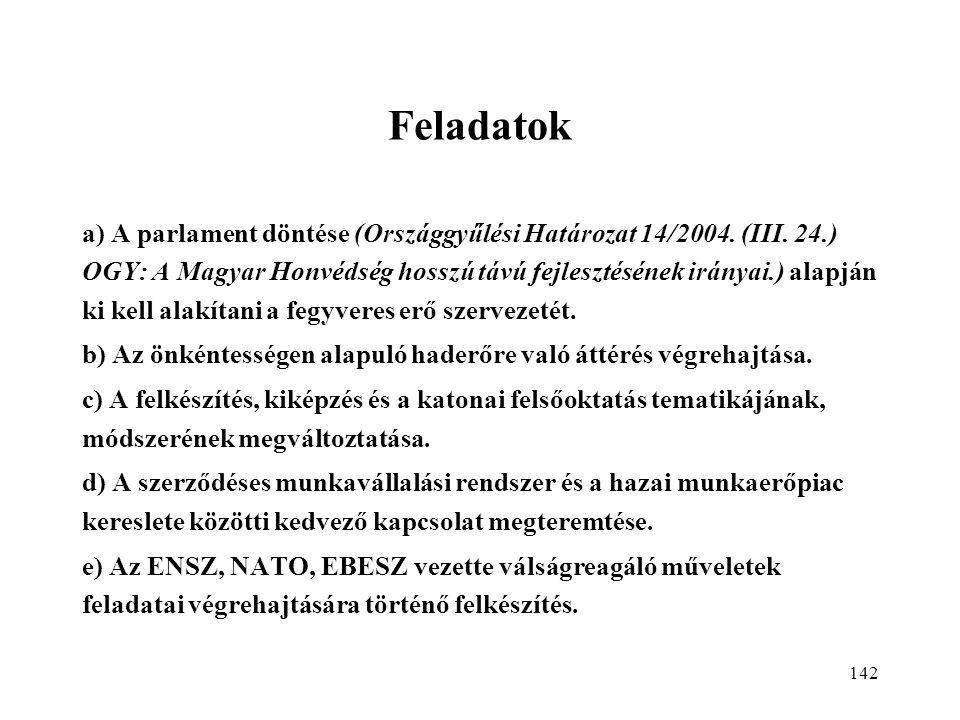 142 Feladatok a) A parlament döntése (Országgyűlési Határozat 14/2004.