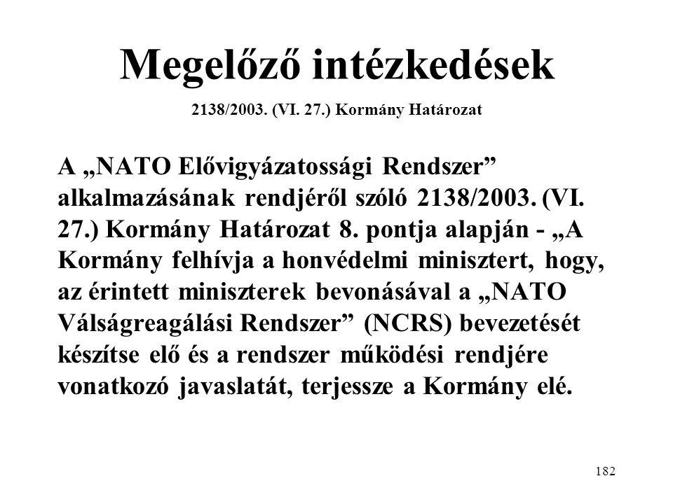 182 Megelőző intézkedések 2138/2003.(VI.